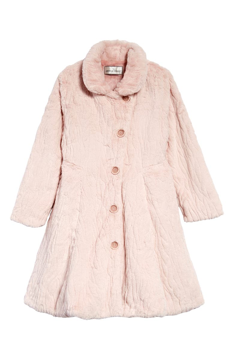 WIDGEON Houndstooth Faux Fur Fit & Flare Coat, Main, color, RMG - ROSE MERINGUE