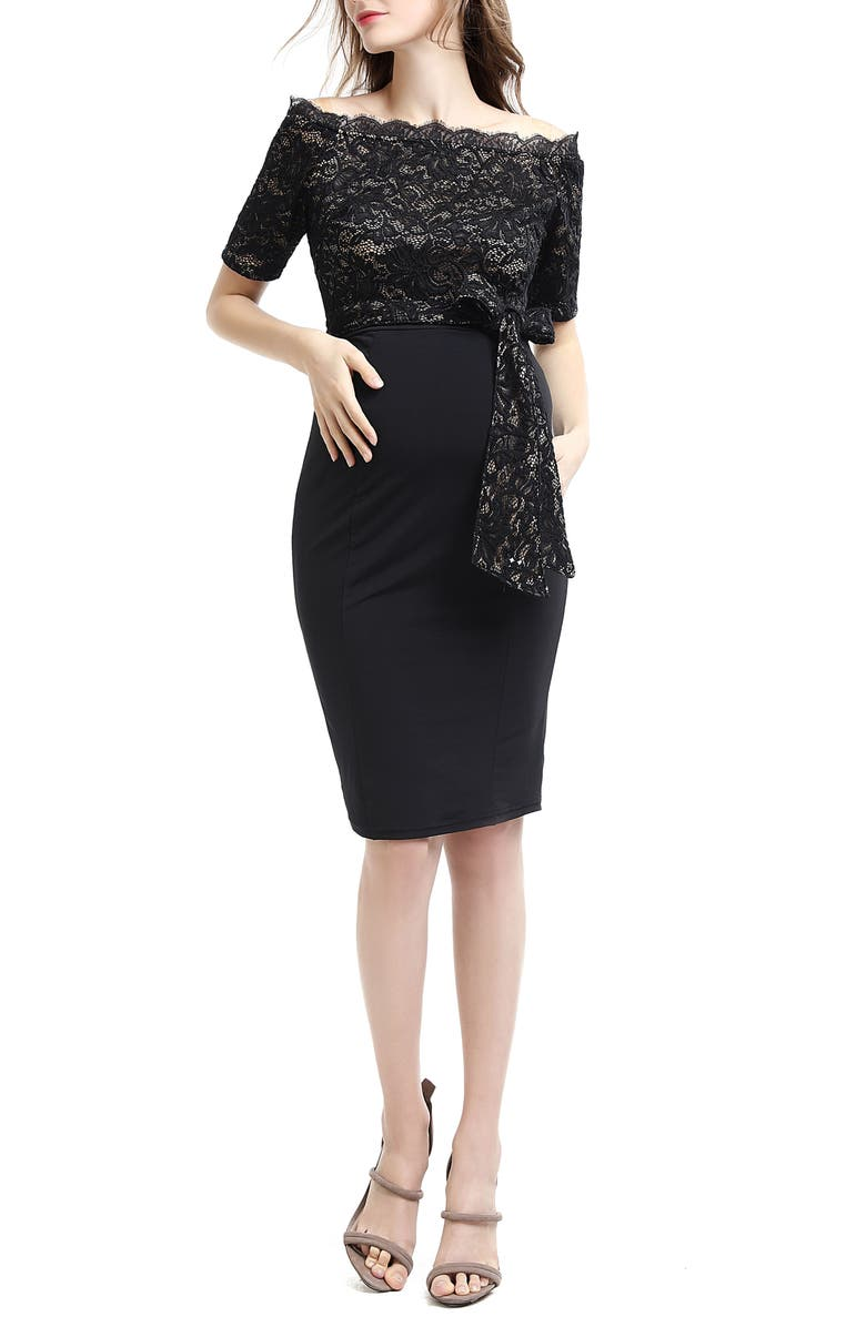 KIMI AND KAI Madeline Off the Shoulder Maternity Dress, Main, color, Black