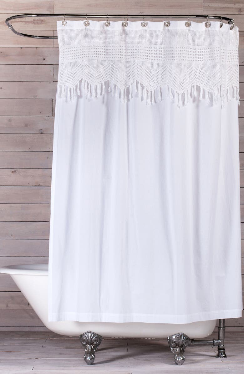 POM POM AT HOME Vintage Crochet Shower Curtain, Main, color, 100
