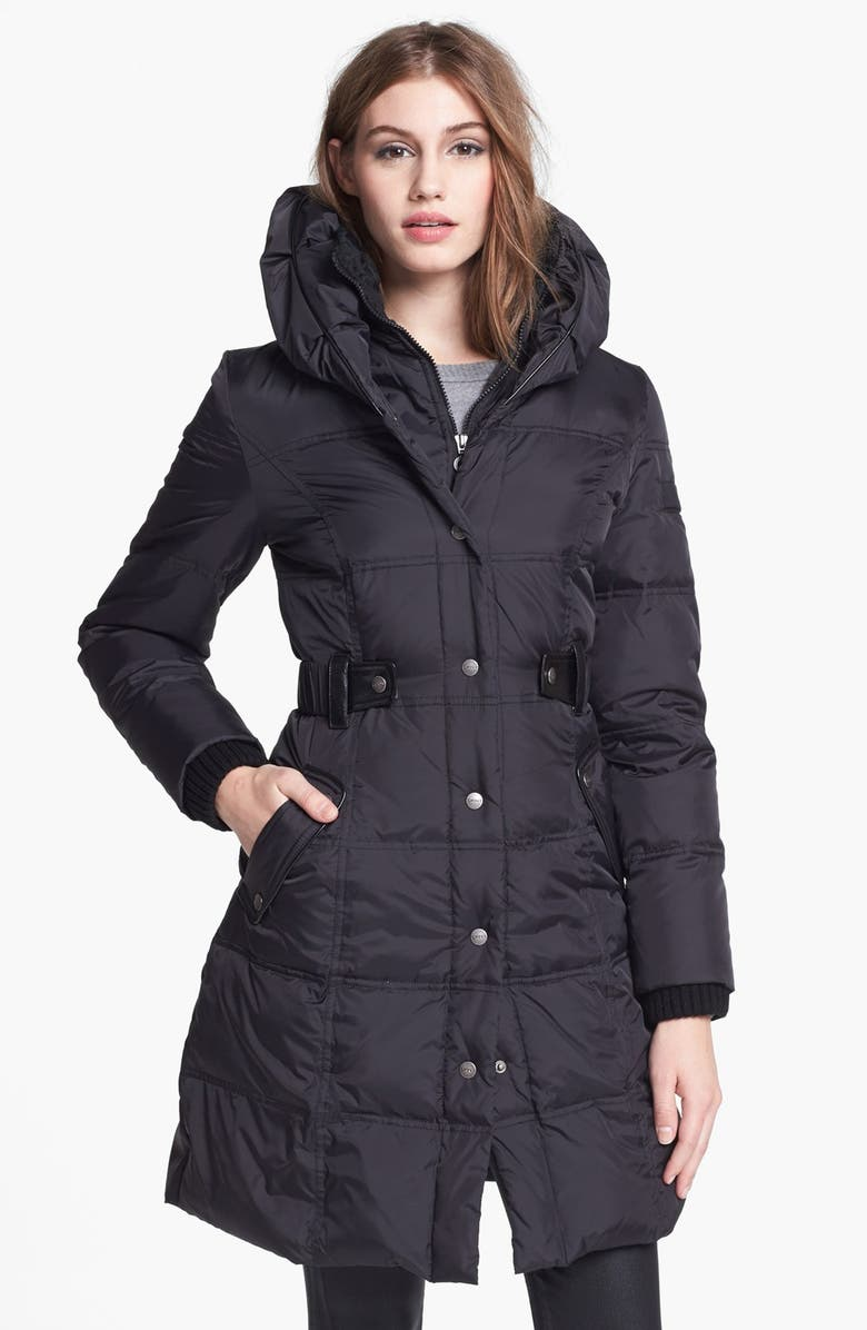 DKNY Faux Leather Trim Quilted Coat, Main, color, 001