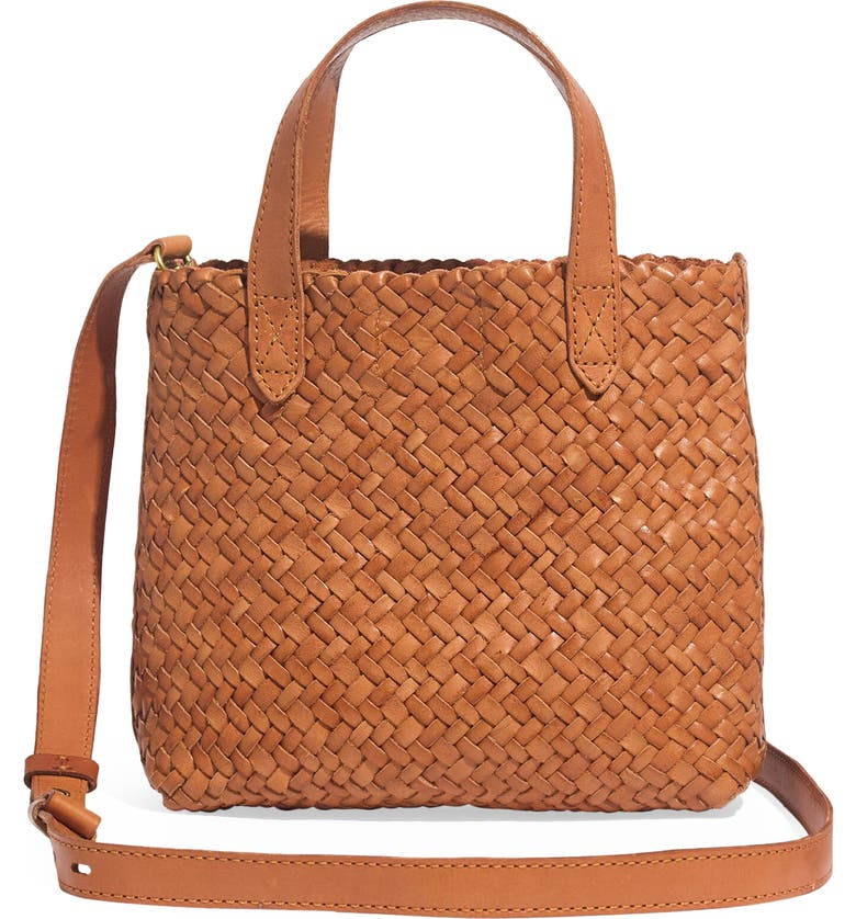 MADEWELL The Small Transport Crossbody: Woven Leather Edition, Main, color, BURNISHED CARAMEL