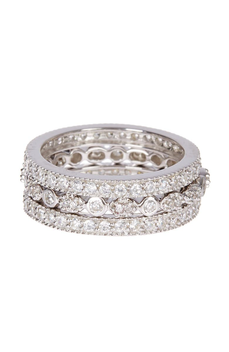 STERLING FOREVER Sterling Silver Three Row CZ Band Ring - Set of 3, Main, color, SILVER