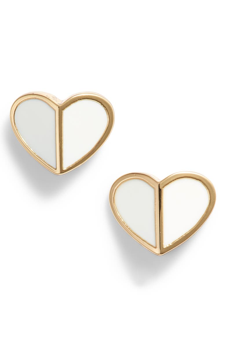 KATE SPADE NEW YORK heart stud earrings, Main, color, White