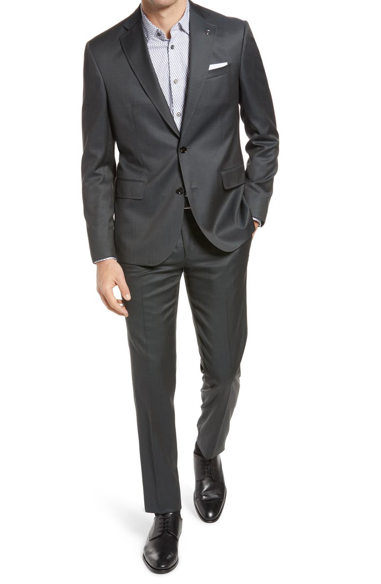 TED BAKER LONDON Roger Extra Trim Fit Wool Suit, Main, color, GREEN