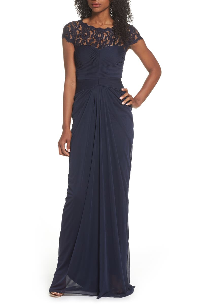 ADRIANNA PAPELL Lace Yoke Drape Gown, Main, color, 411