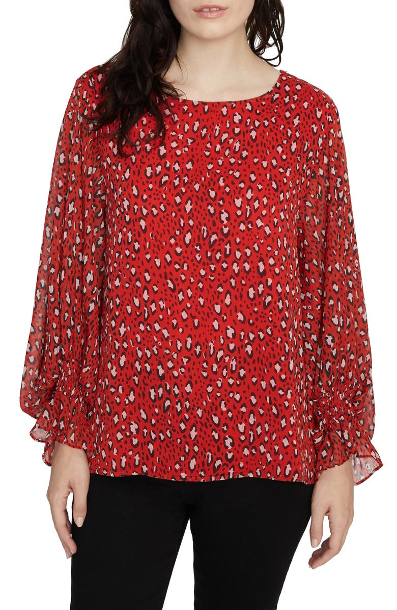 SANCTUARY Rylee Print Smocked Cuff Blouse, Main, color, 600