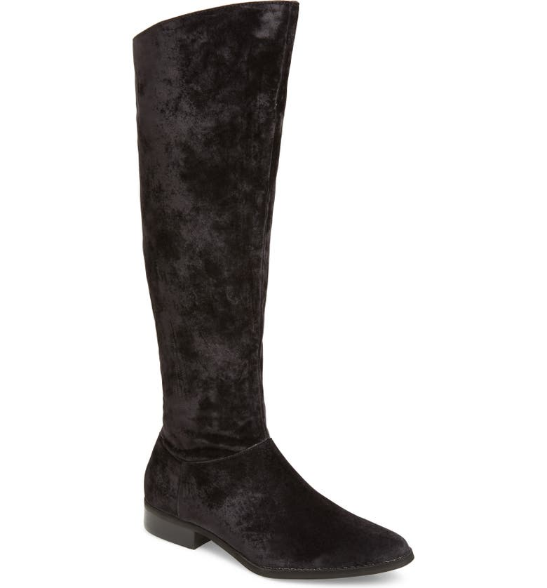 BAND OF GYPSIES Luna Knee High Boot, Main, color, BLACK SUEDED VELVET