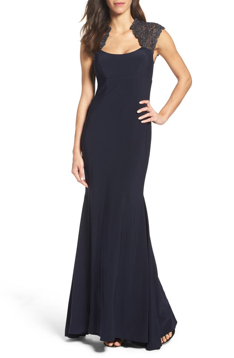 XSCAPE Lace Inset Mermaid Gown, Main, color, 400