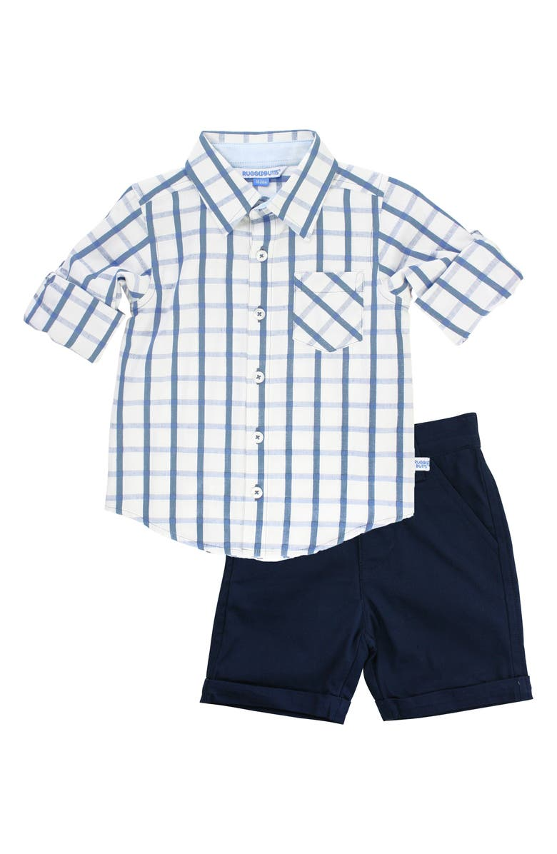 RUGGEDBUTTS Windowpane Check Shirt & Shorts Set, Main, color, 400