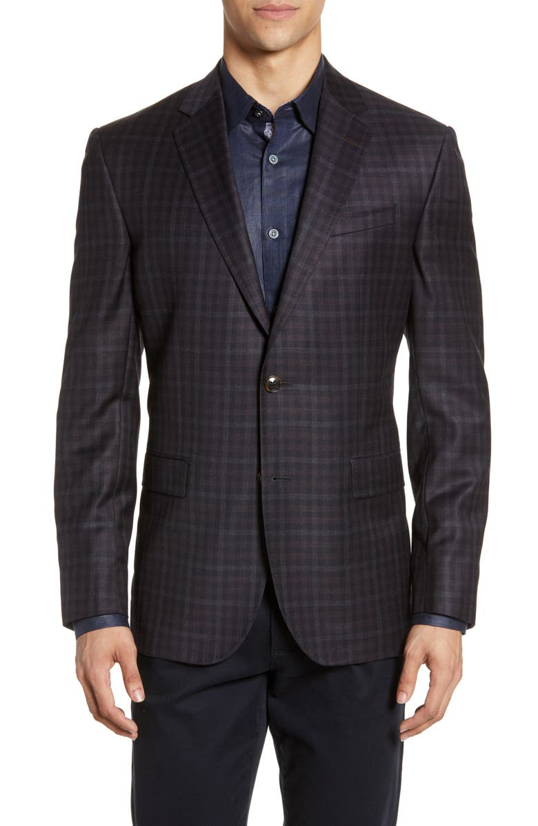 TED BAKER LONDON Jay Trim Fit Check Wool Sport Coat, Main, color, 410