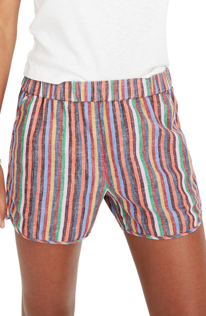 MADEWELL Rainbow Stripe Pull-On Shorts, Main, color, MULLED WINE SMITH STRIPE