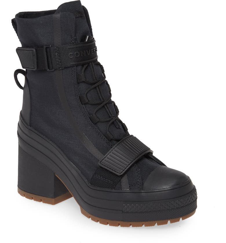 CONVERSE Chuck Taylor<sup>®</sup> All Star<sup>®</sup> Water Resistant Lace-Up Boot, Main, color, BLACK/ BLACK/ GUM