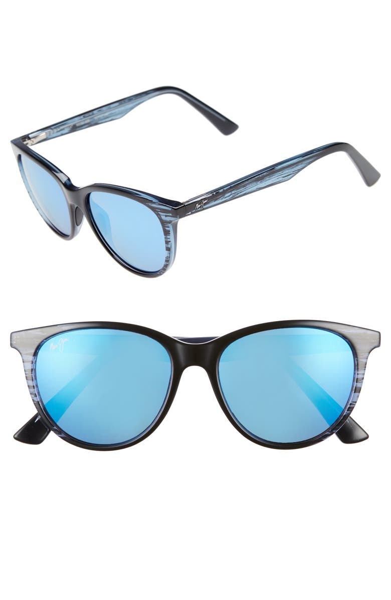 MAUI JIM Cathedrals 52mm PolarizedPlus2<sup>®</sup> Cat Eye Sunglasses, Main, color, BLUE BLACK STRIPE/ BLUE HAWAII