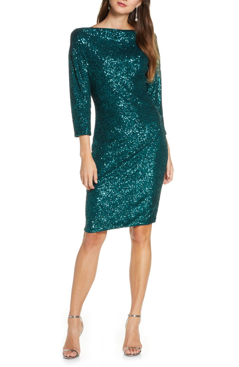 MARK + JAMES BY BADGLEY MISCHKA Badgley Mischka Sequin Drape Back Party Dress, Main, color, 300