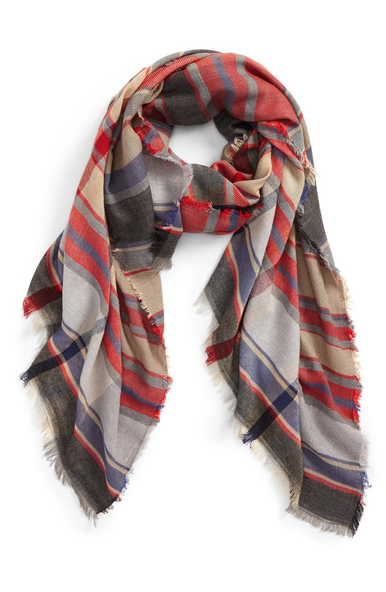 BP. Plaid Oblong Scarf, Main, color, 600
