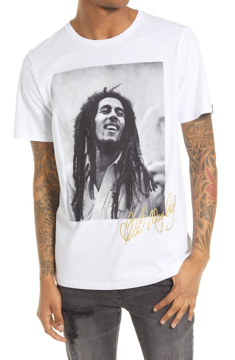 CULT OF INDIVIDUALITY Bob Marley Men's Graphic Tee, Main, color, White