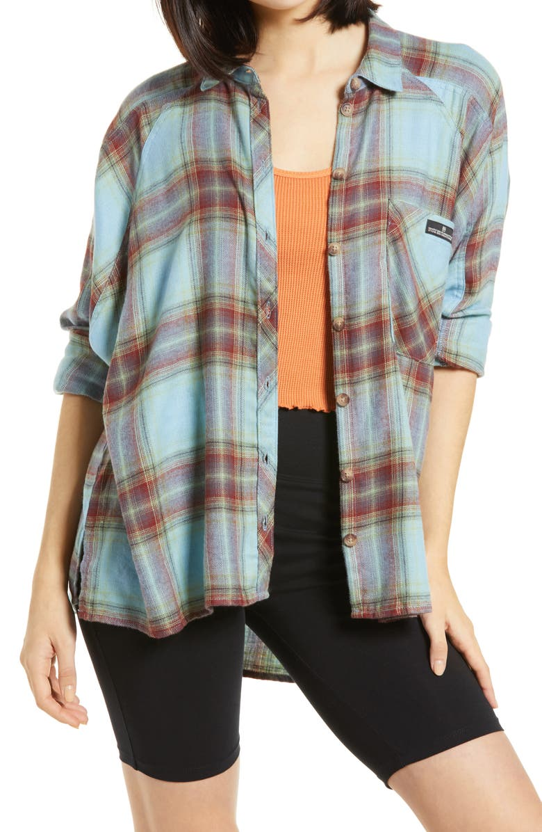 BDG URBAN OUTFITTERS Brendan Plaid Flannel Shirt, Main, color, TURQUOISE RED