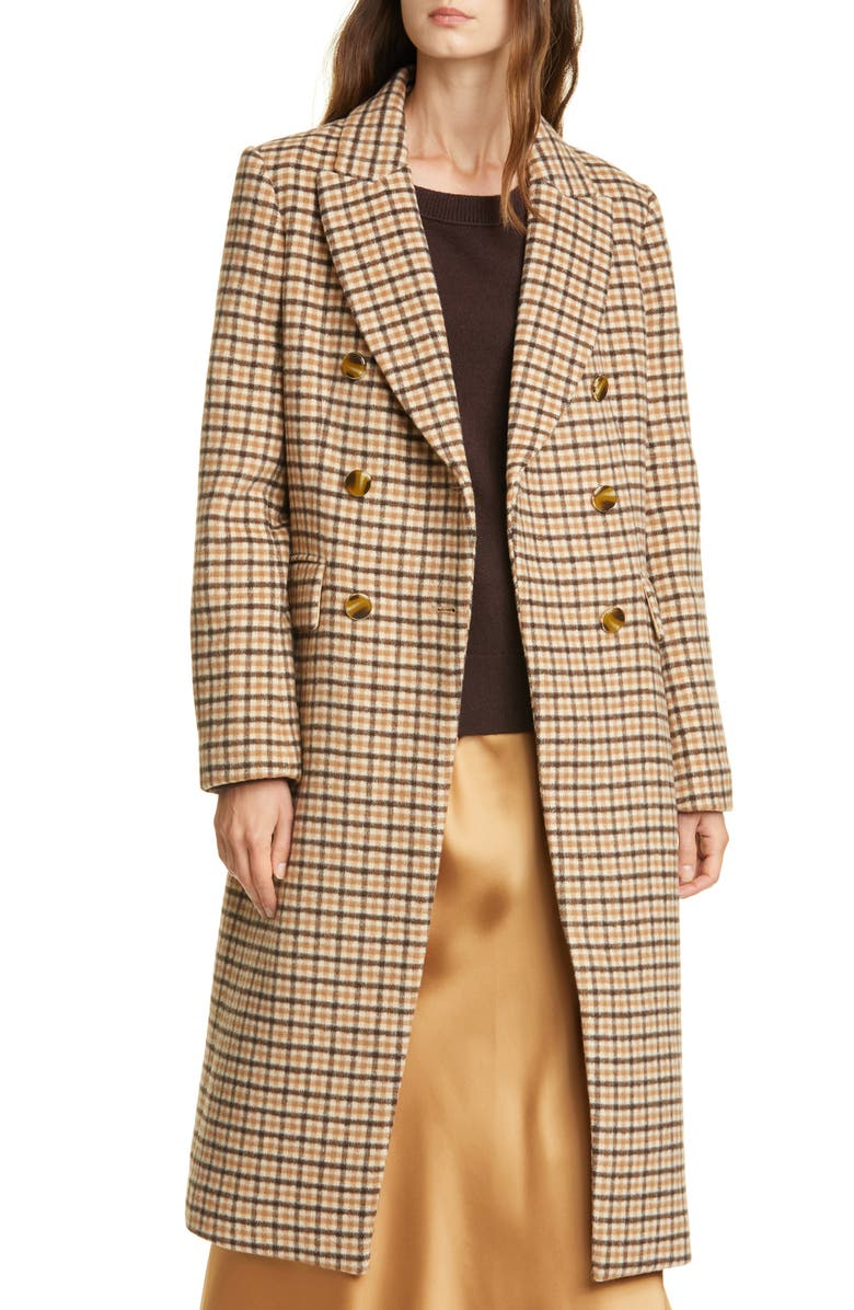 CLUB MONACO Jemma Plaid Double Breasted Wool Blend Coat, Main, color, 260