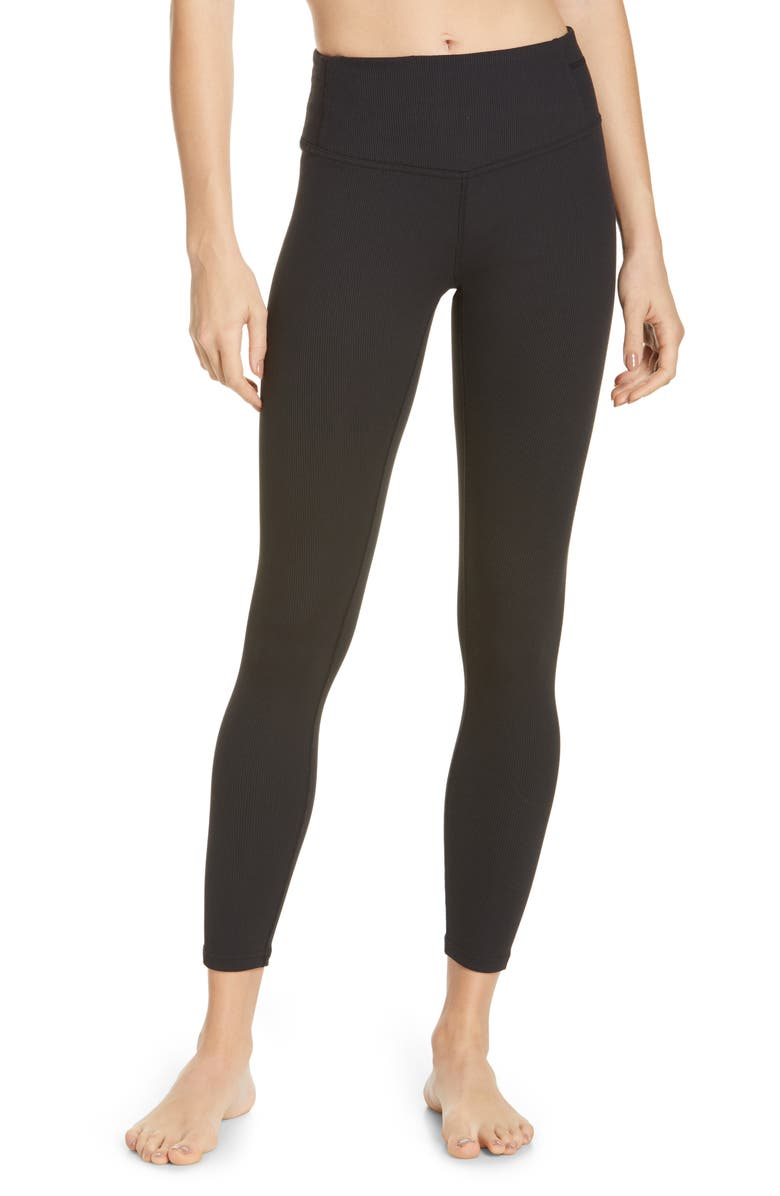 ZELLA Pirouette High Waist Rib Ankle Leggings, Main, color, BLACK