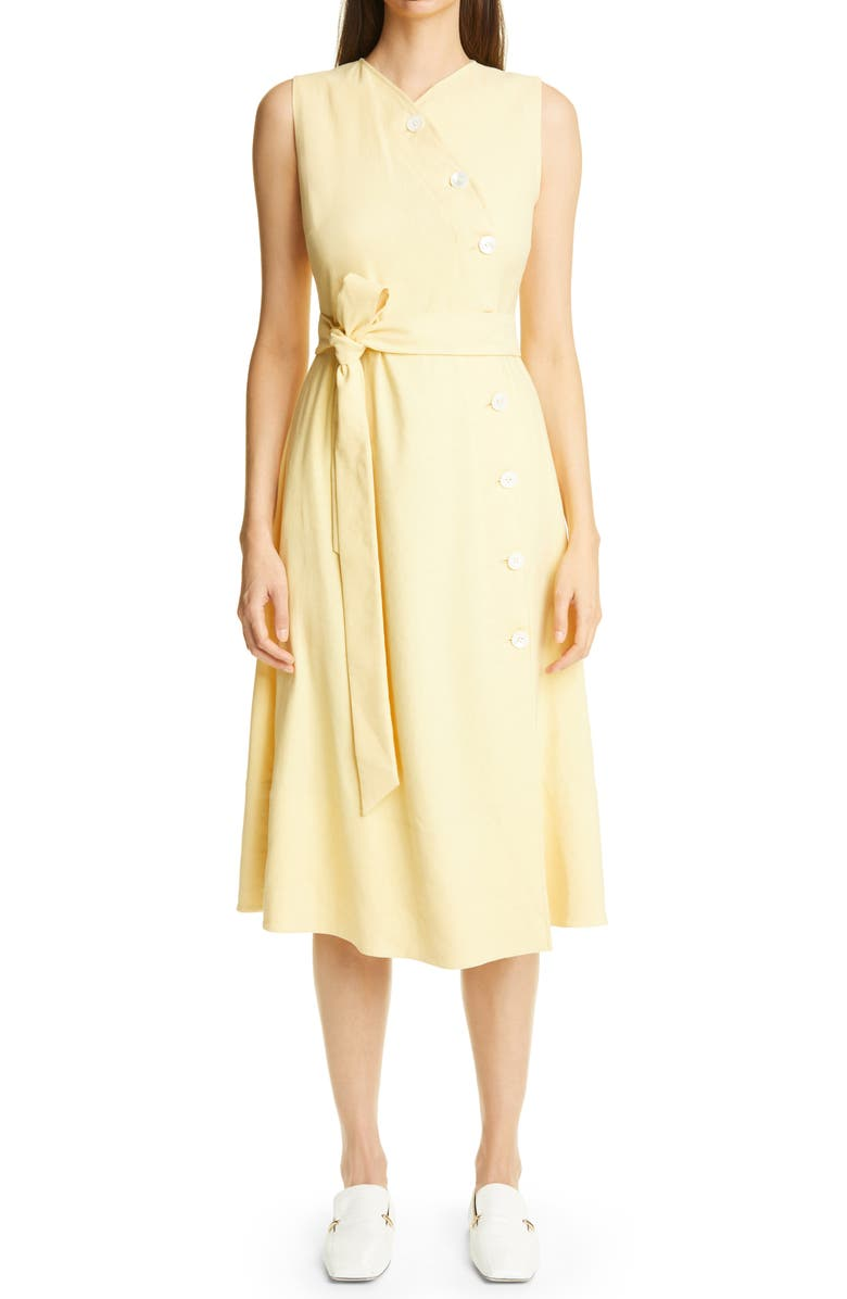 ST. JOHN COLLECTION Tie Belt Stretch Twill Midi Wrap Dress, Main, color, BUTTER
