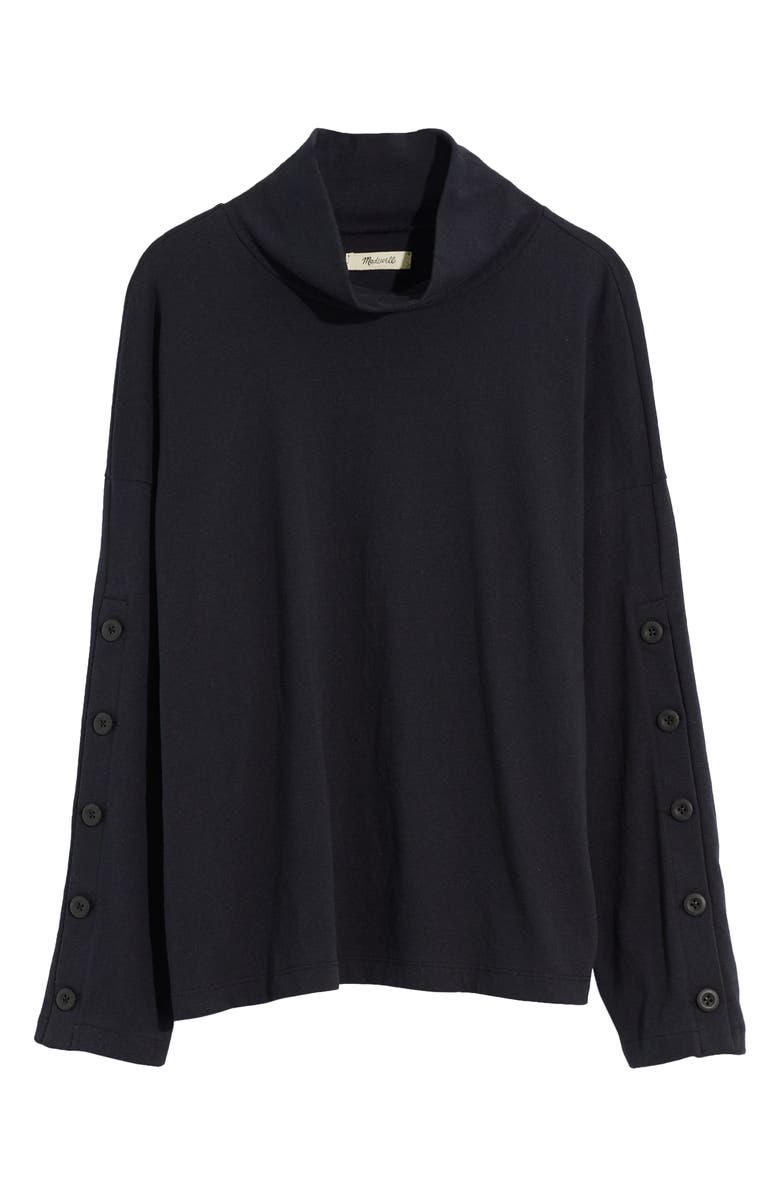 MADEWELL Button Sleeve Organic Cotton Turtleneck Top, Main, color, 001