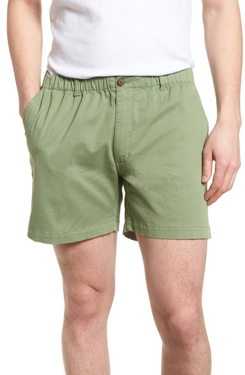 VINTAGE 1946 Snappers Elastic Waist Shorts, Main, color, HEDGE