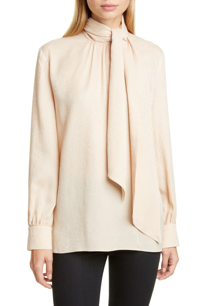 FENDI Embroidered Scarf Neck Silk Blouse, Main, color, 254