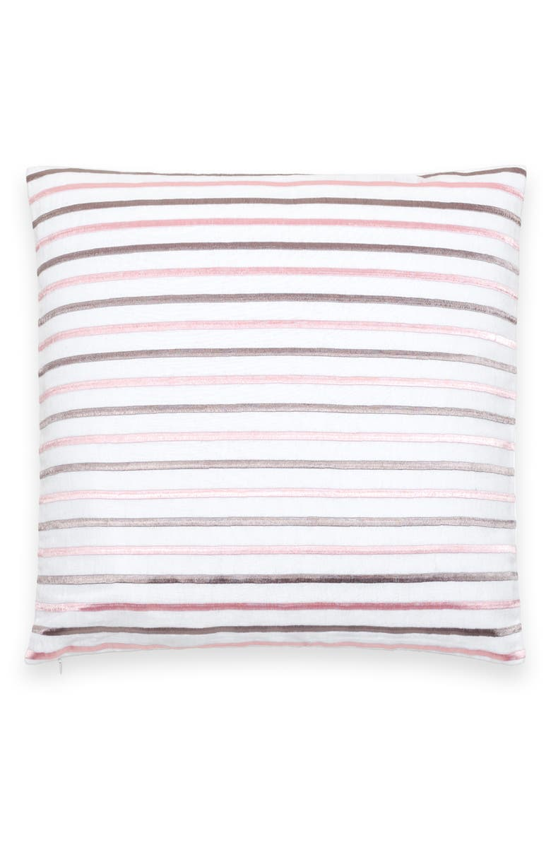 KATE SPADE NEW YORK embroidered stripe linen & cotton accent pillow, Main, color, PLAT/ PINK