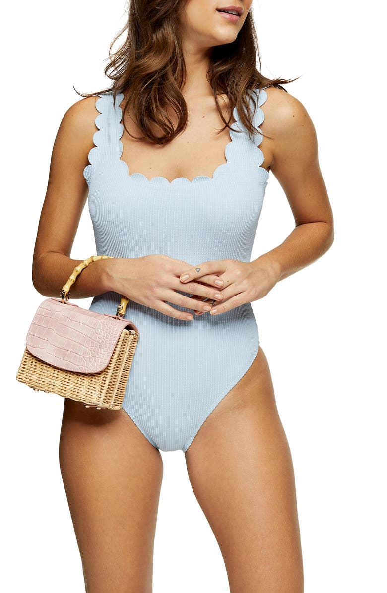 TOPSHOP Scallop Wavy Ribbed One-Piece Swimsuit, Main, color, LIGHT BLUE