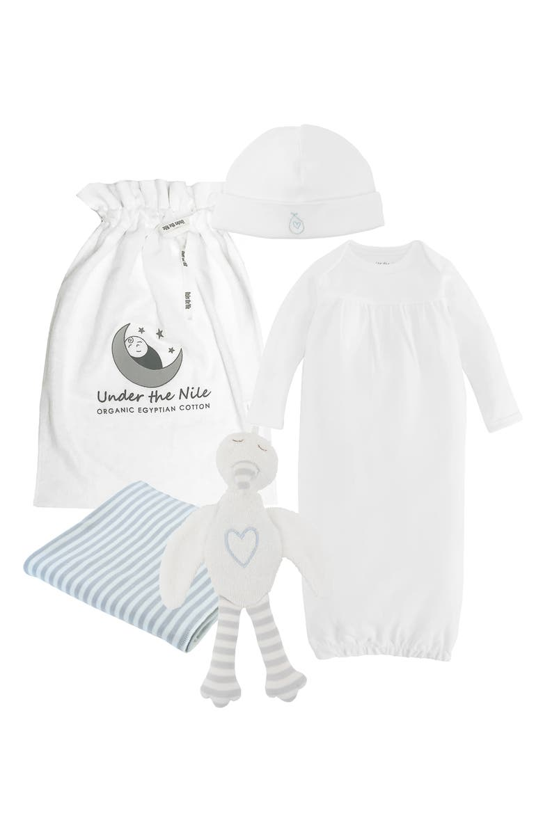UNDER THE NILE 4-Piece Embroidered Organic Egyptian Cotton Gift Set, Main, color, OFF-WHITE