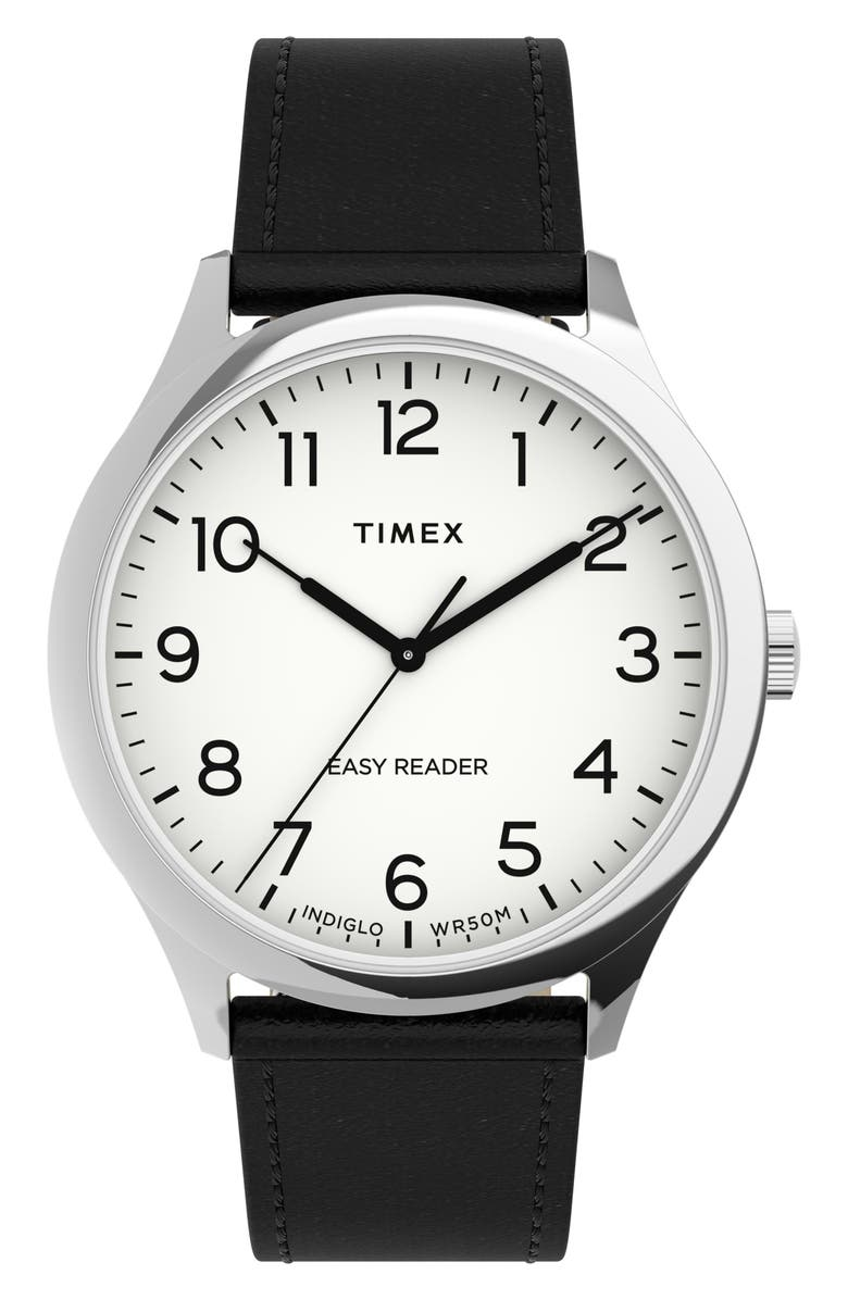TIMEX<SUP>®</SUP> Easy Reader<sup>®</sup> Leather Strap Watch, 40mm, Main, color, BLACK/ WHITE/ SILVER