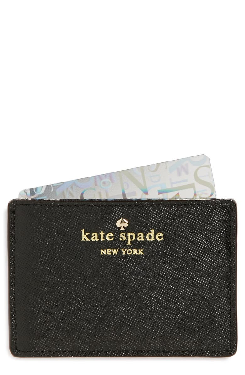 KATE SPADE NEW YORK 'cherry lane' card holder, Main, color, 001