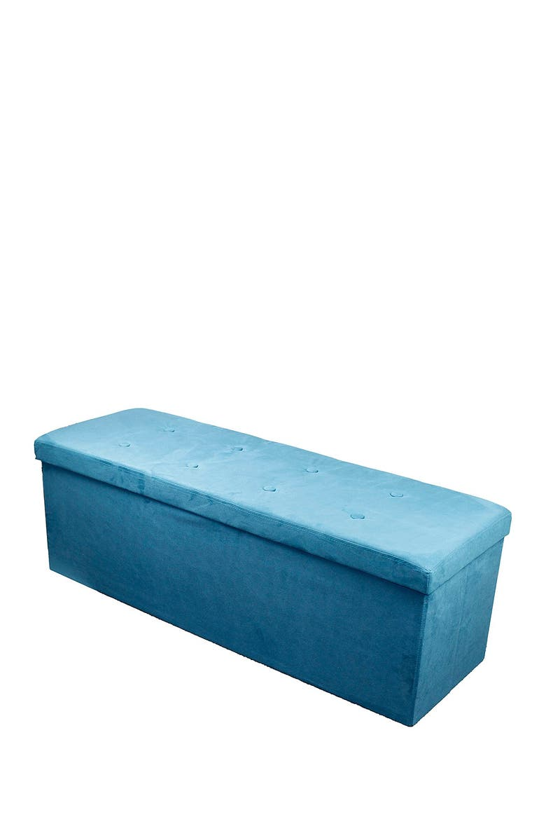 SORBUS Faux Suede Foldable Storage Bench - Teal, Main, color, TEAL