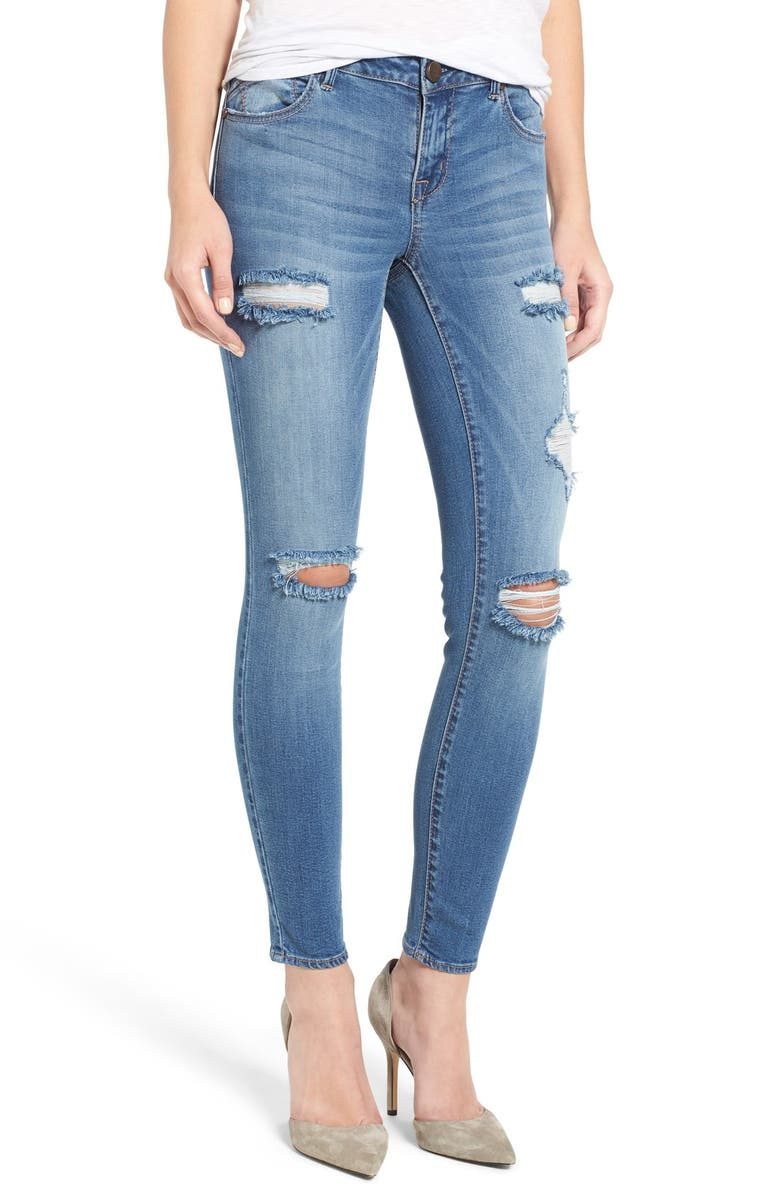 1822 DENIM 1822 Ripped Skinny Jeans, Main, color, XANTHE