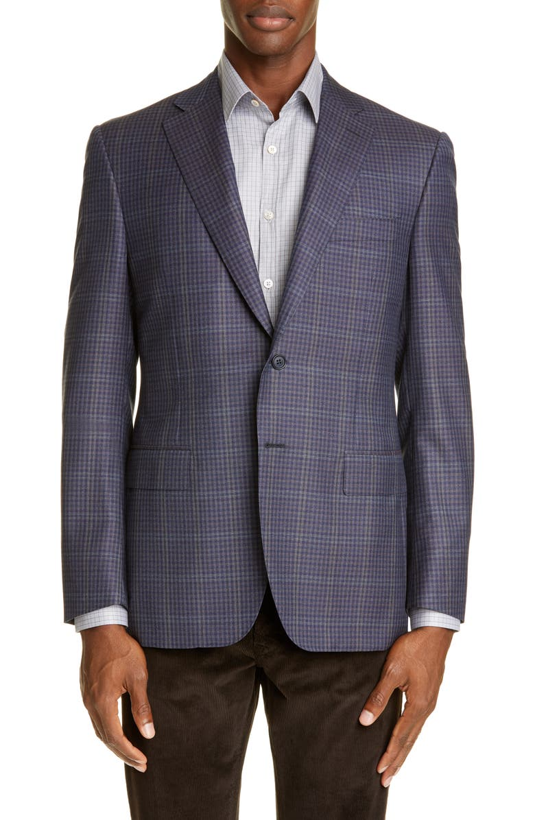 CANALI Sienna Soft Classic Fit Microcheck Wool Sport Coat, Main, color, 200