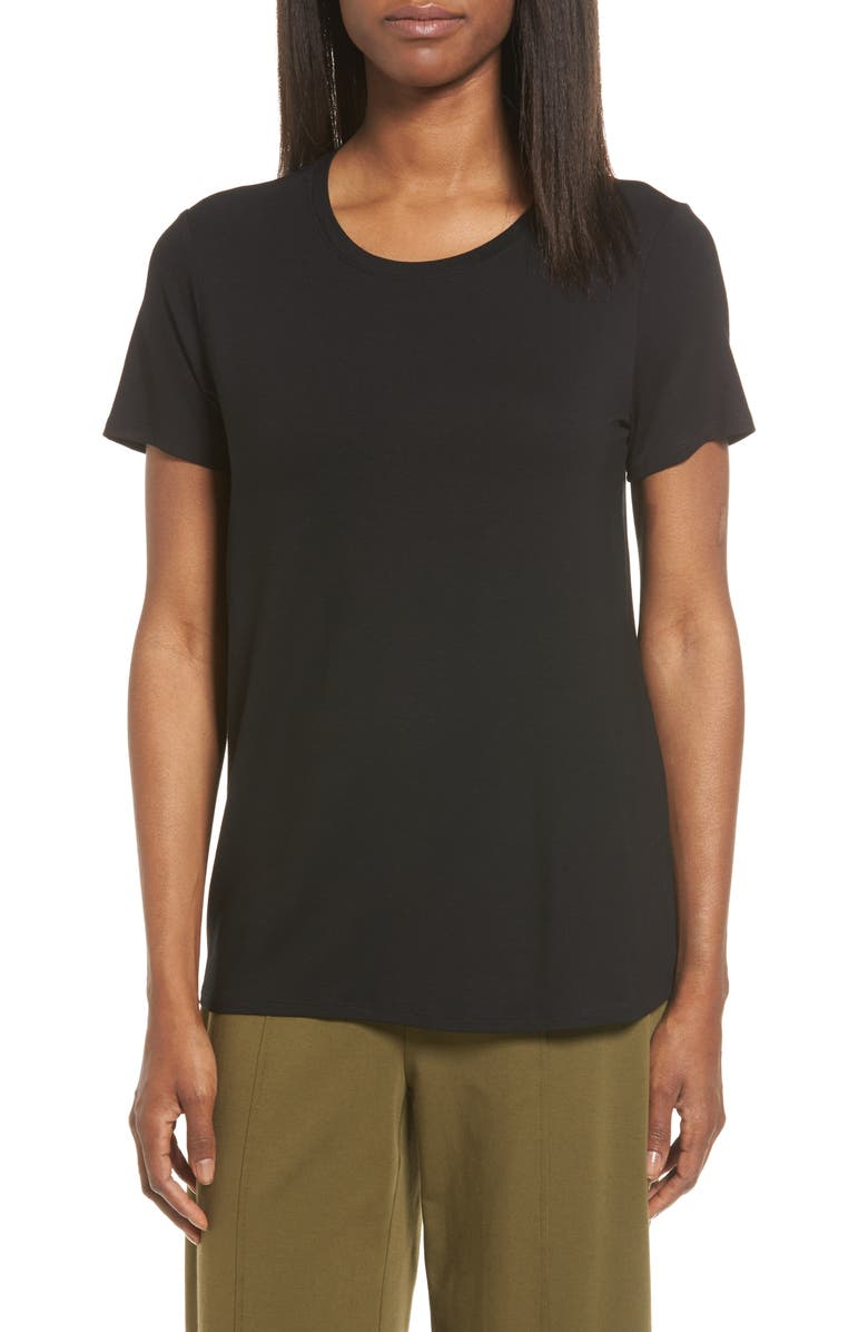 EILEEN FISHER Short Sleeve Jersey Tee, Main, color, 002