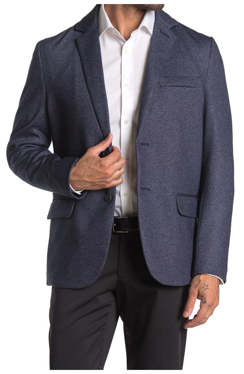CONSTRUCT Navy Twill Two Button Notch Lapel Slim Fit Blazer, Main, color, NAVY