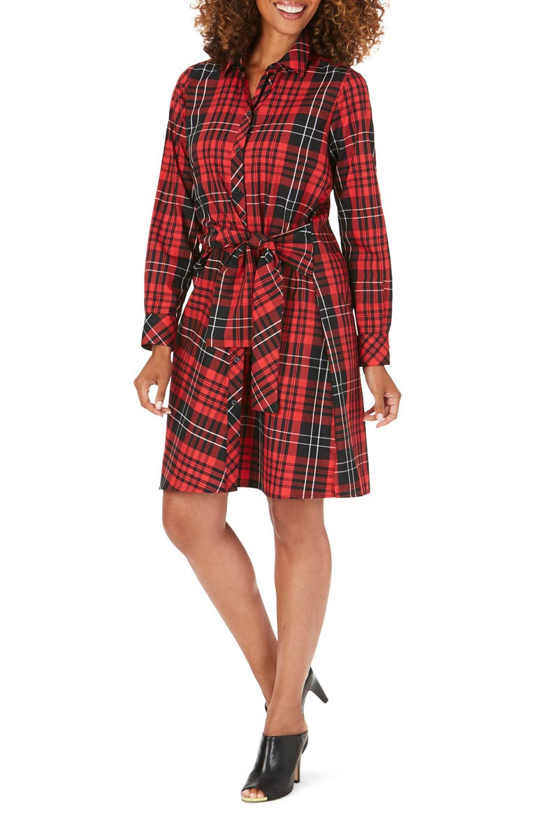 FOXCROFT Parisian Matheson Tartan Long Sleeve Shirtdress, Main, color, 001