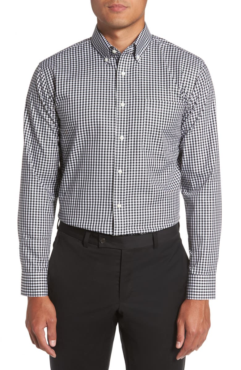 NORDSTROM Men's Shop Trim Fit Non-Iron Gingham Dress Shirt, Main, color, 001
