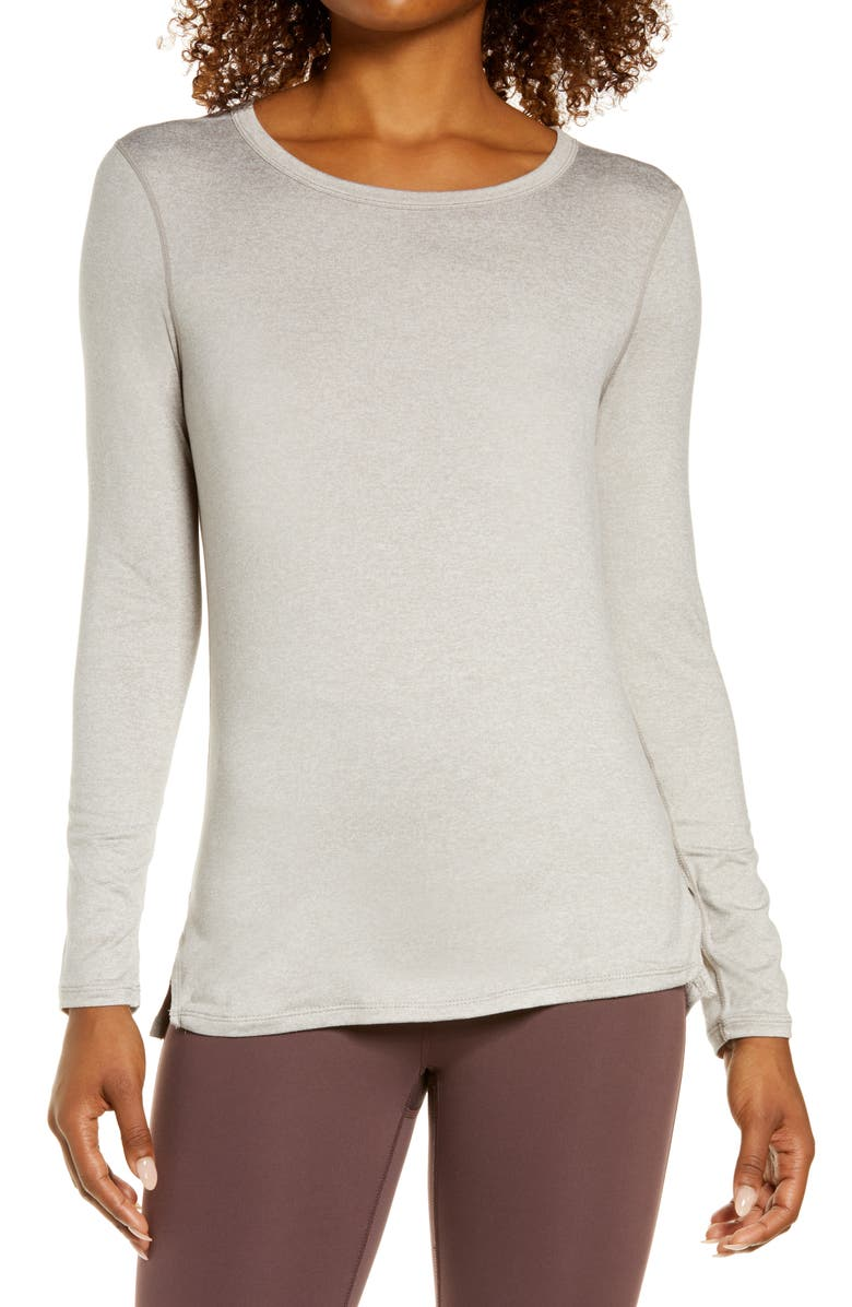 ZELLA Liana Long Sleeve Recycled Blend Performance T-Shirt, Main, color, GREY PORPOISE