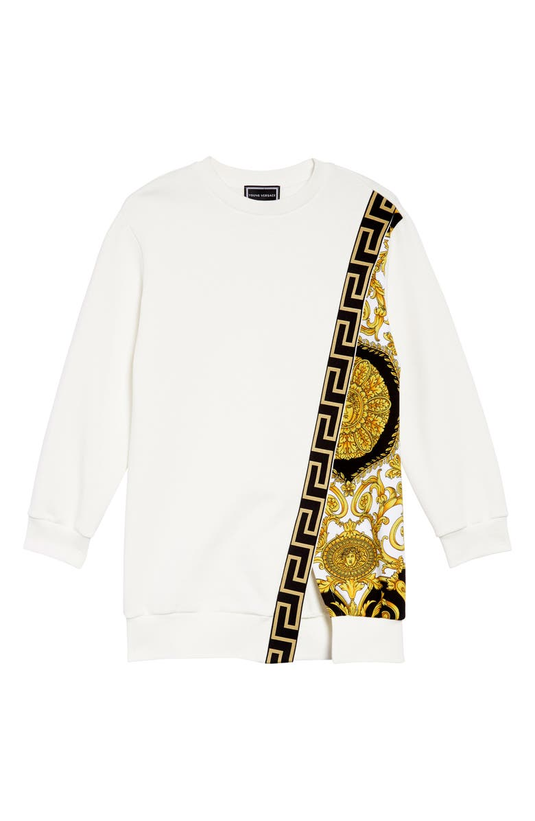 VERSACE Long Sleeve Dress, Main, color, 100