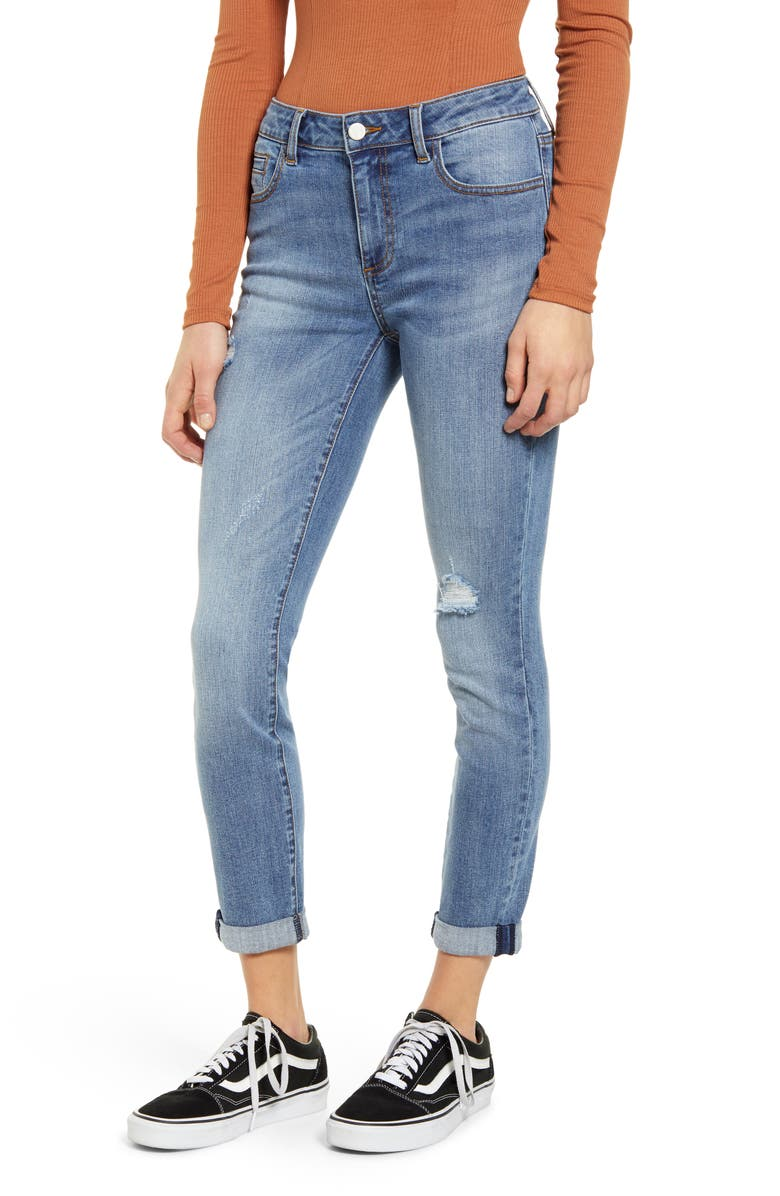 MADE IN BLUE Distressed Cuffed Crop Skinny Jeans, Main, color, Blue