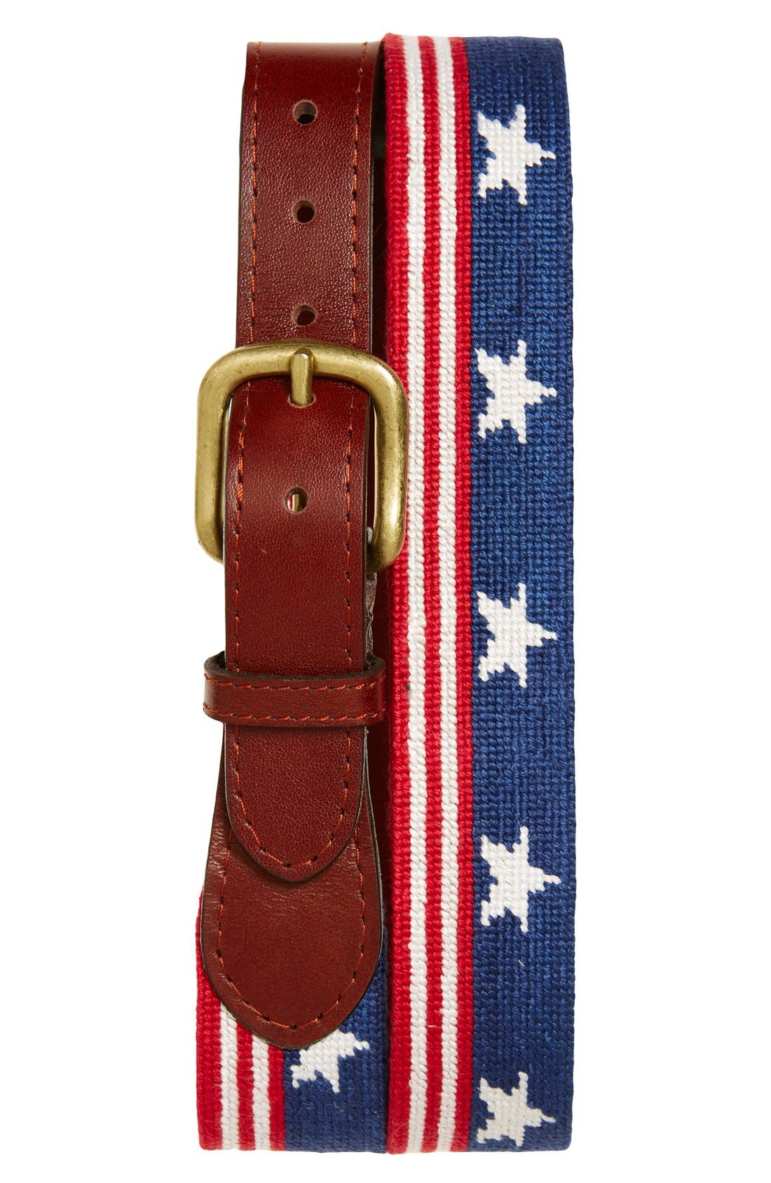 Vintage Old Glory Needlepoint D-Ring Belt by Smathers /& Branson