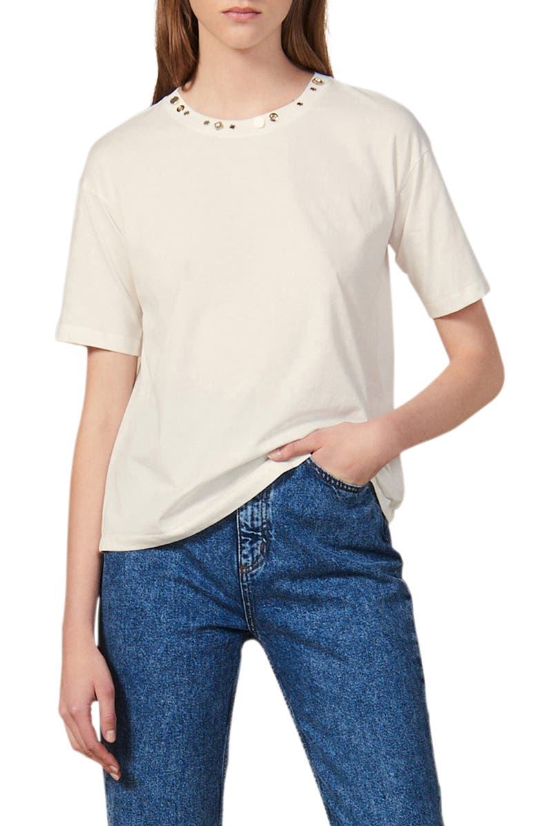 SANDRO Strassy Stud Detail Crewneck Cotton Tee, Main, color, 101