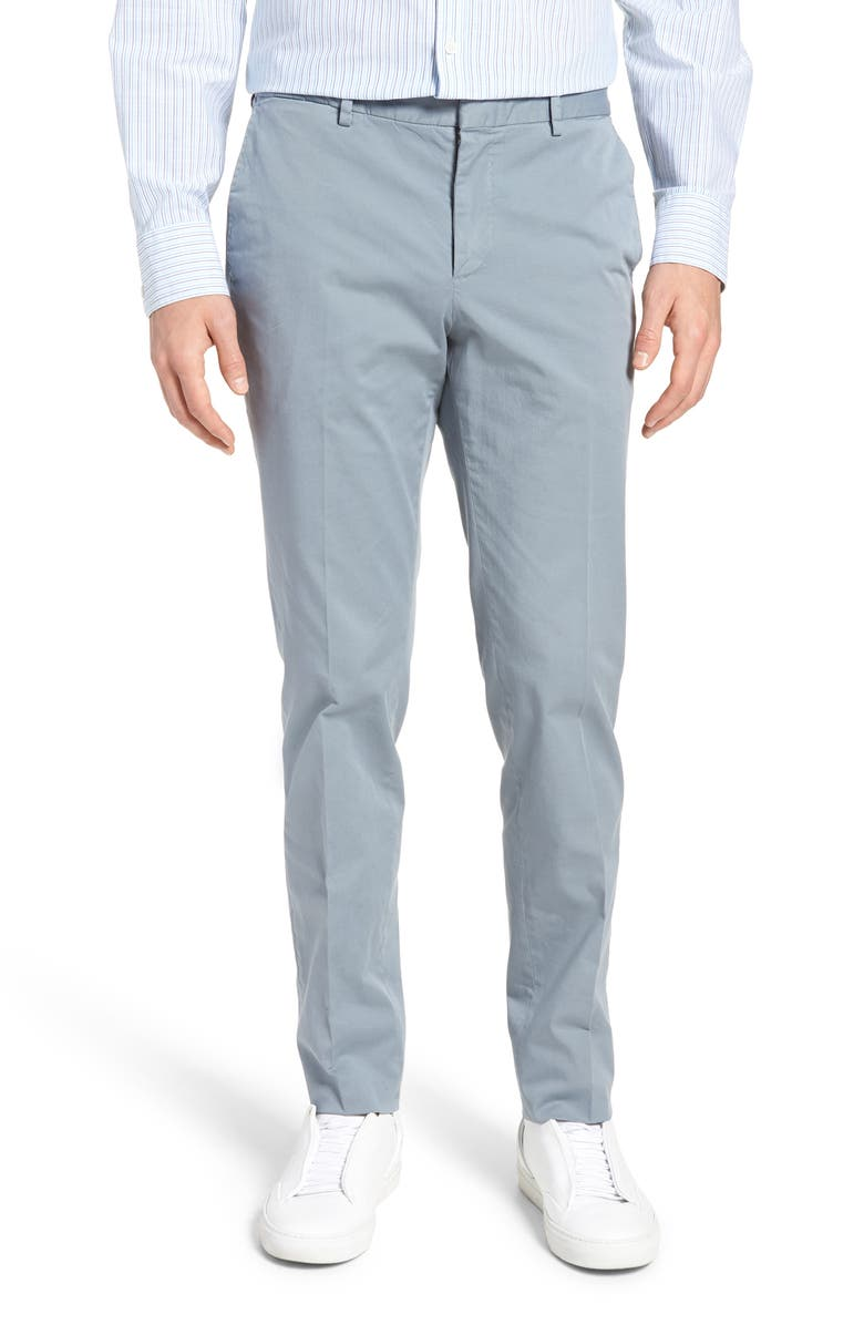 BOSS Barlow-D Flat Front Slim Fit Stretch Solid Cotton Trousers, Main, color, 400