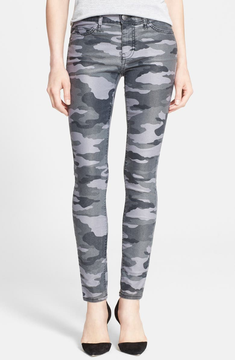 CURRENT/ELLIOTT 'The Ankle Skinny' Coated Camo Skinny Jeans, Main, color, 009