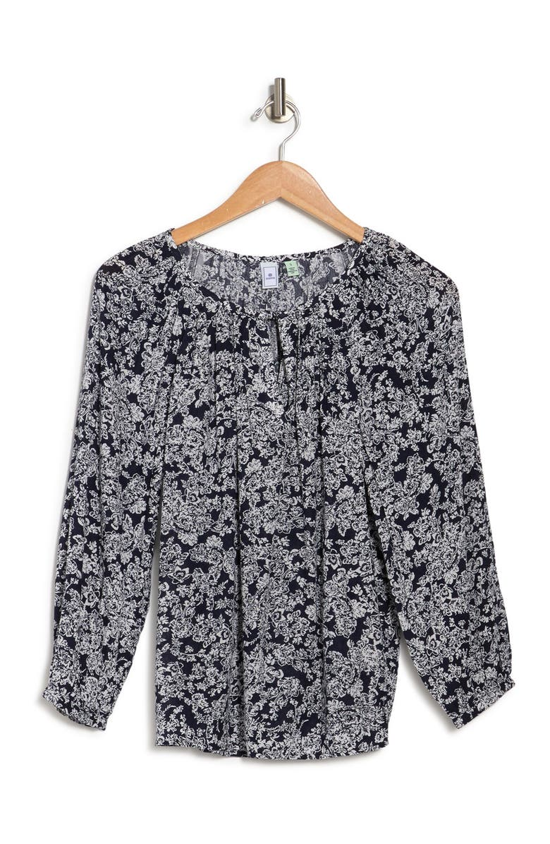 SUSINA Long Sleeve Floral Print Blouse, Main, color, NAVY PEACOAT FLORAL GARDEN