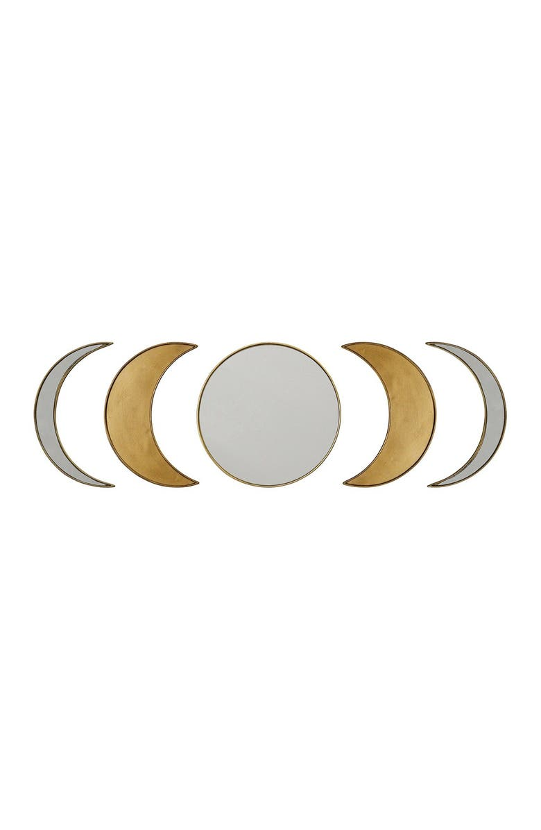 STRATTON HOME DECOR Moon Phase Wall Mirror - Set of 5, Main, color, ANTIQUE GOLD