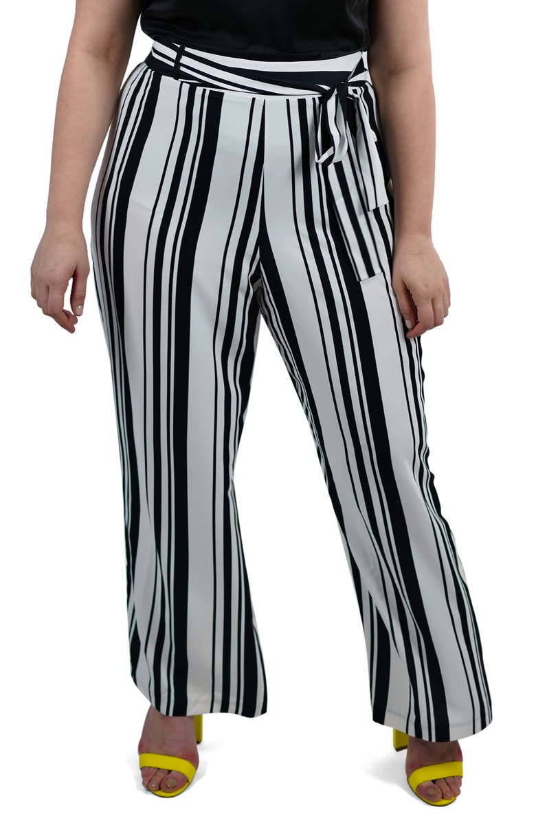 MARÉE POUR TOI Stripe Wide Leg Pants, Main, color, 100