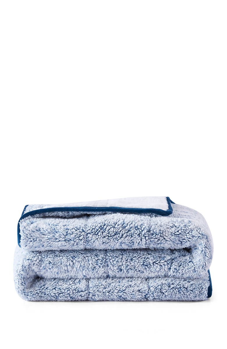 DREAMOTHIS Teddy Faux Shearling Reversible Weighted Throw Blanket - Blue, Main, color, NAVY